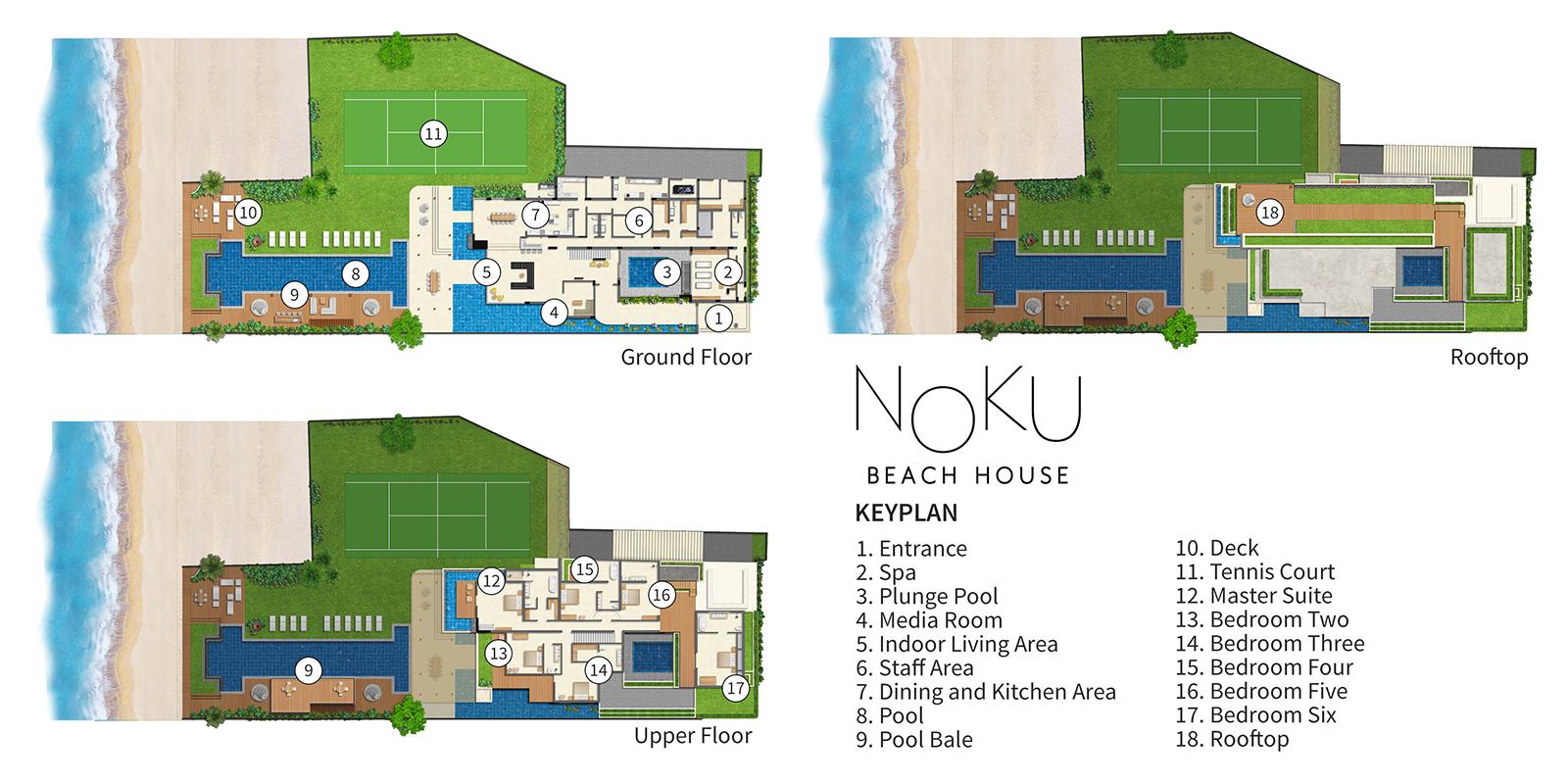 Noku Beach House Floor Plan | Seminyak, Bali