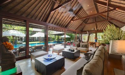 Villa Ramadewa Indoor Living Area With Pool View | Seminyak, Bali