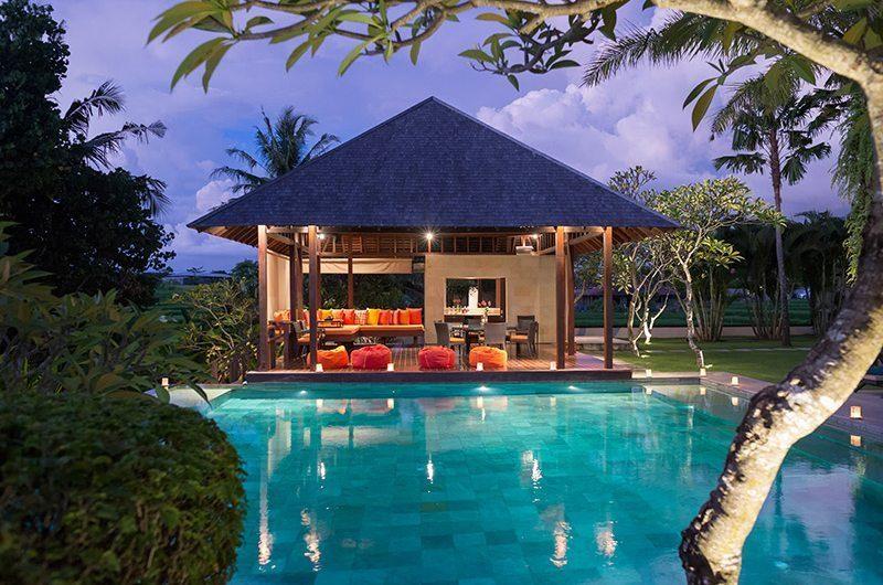 Villa Bendega Nui Pool Side Bale at Night   Canggu, Bali
