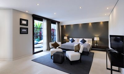 The Layar One Bedroom Villas Bedroom with TV | Seminyak, Bali