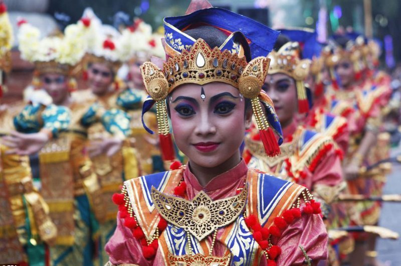 Locals in Bali Celebrating Chinese New Year