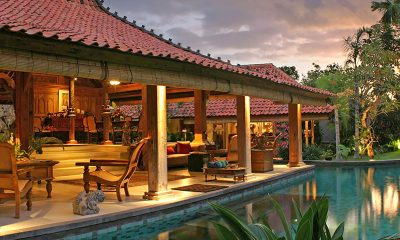 Des Indes Villas Villa Des Indes 1 Indoor Living Area with Pool View | Seminyak, Bali