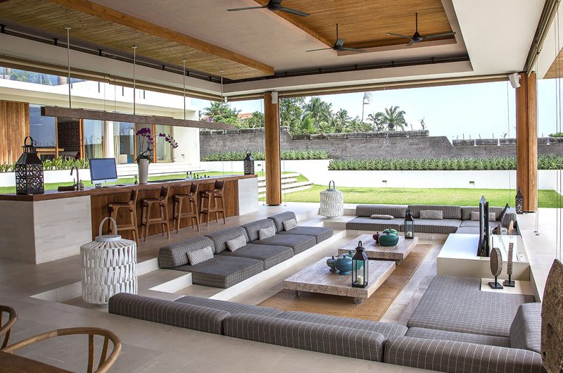 The Iman Villa Indoor Living Area with Garden View | Pererenan, Bali