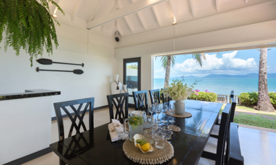 Villa Champak Dining Area with Ocean View | Maenam, Koh Samui