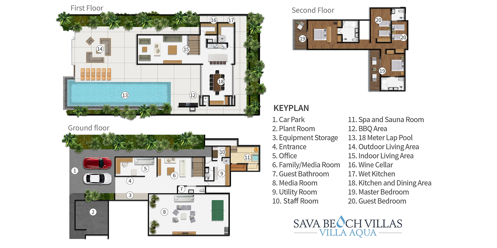 Sava Beach Villas Aqua Villa Floor Plan | Natai, Phang Nga