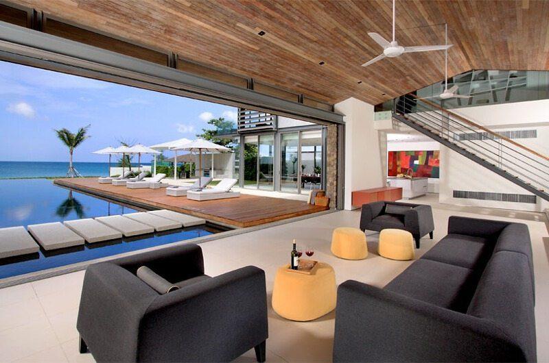 Sava Beach Villas Villa Amarelo Living Area with Pool View | Natai, Phang Nga