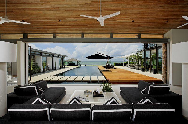Sava Beach Villas Villa Essenza Indoor Living Area with Pool View | Natai, Phang Nga