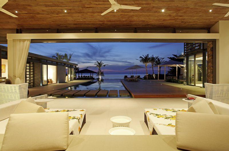 Sava Beach Villas Villa Malee Sai Living Area with Pool View | Natai, Phang Nga