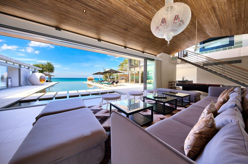 Sava Beach Villas Villa Tievoli Indoor Living Area with Pool View | Natai, Phang Nga