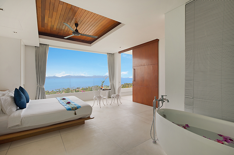 Villa Blue View Bedroom with Ensuite Bathtub | Bang Por, Koh Samui