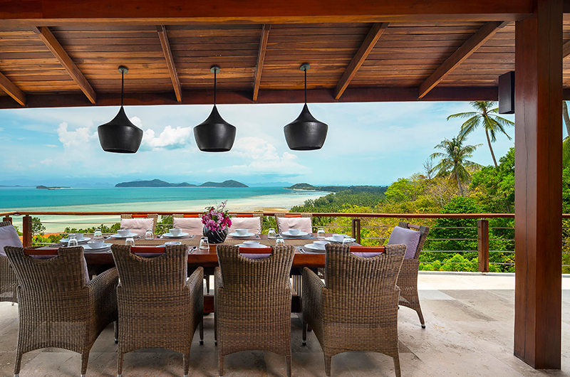 Villa Sila Varee Dining Area with Ocean Views | Laem Set, Koh Samui