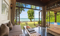 The Emerald Beach Villa 4 Indoor Living Area with Sea View | Bang Por, Koh Samui