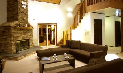 Casa La Mount Living Room with Fireplace   Annupuri, Niseko