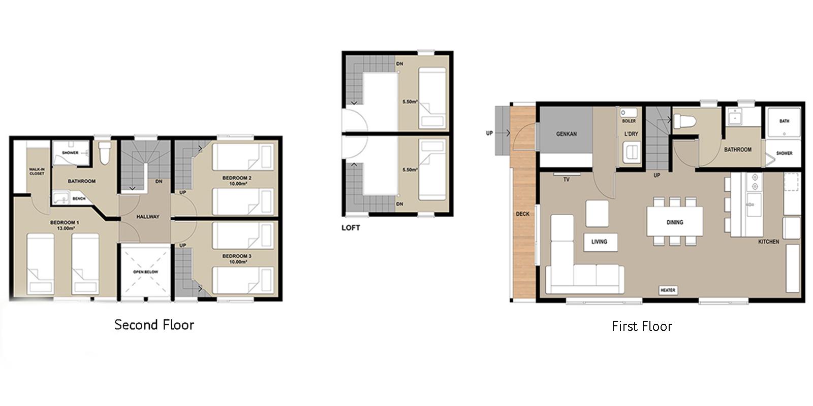Powder Cottage Floor Plan | Hirafu, Niseko