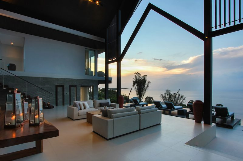 Villa Saan Indoor Living Area with Sea View | Kamala, Phuket
