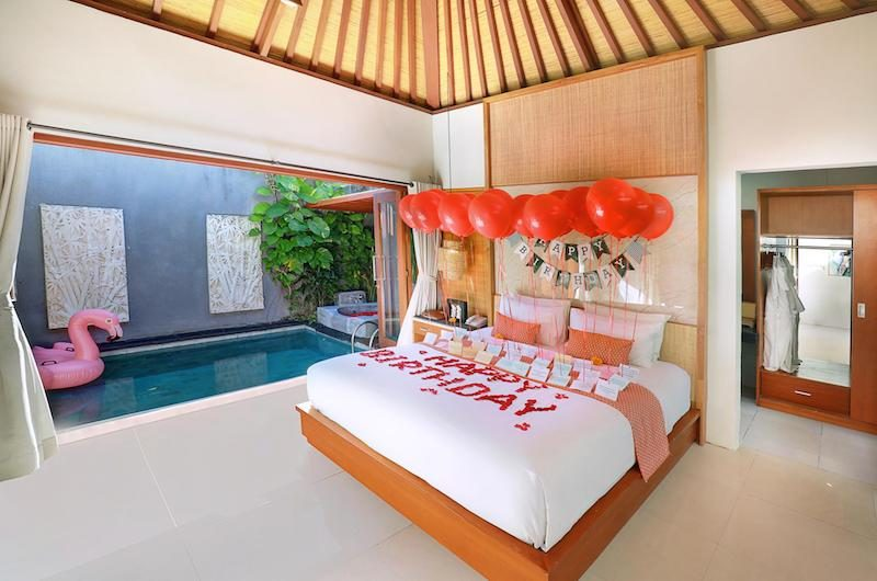 Legian Kriyamaha Villa Bedroom with Birthday Decoration | Legian, Bali