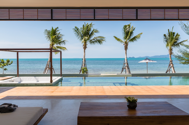 Villa Malouna Living Area with Sea View | Bang Por, Koh Samui
