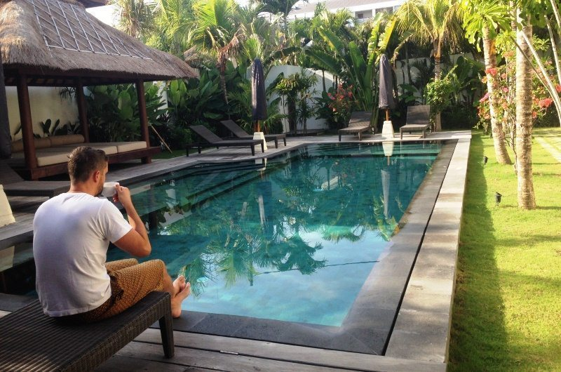 Relaxing by the pool at Villa Tangram