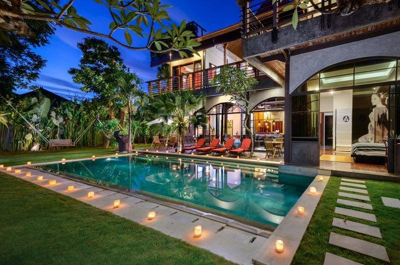 Mansion with pool at night  Niconico Mansion | Petitenget, Bali | Indonesia