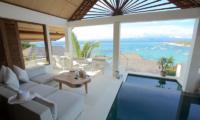 Aqua Nusa Villa Chantique Indoor Living Area with Sea View | Nusa Lembongan, Bali