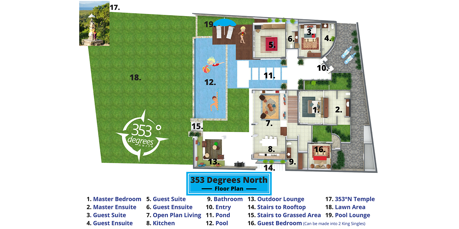 353 Degrees North Floor Plan | Nusa Lembongan, Bali