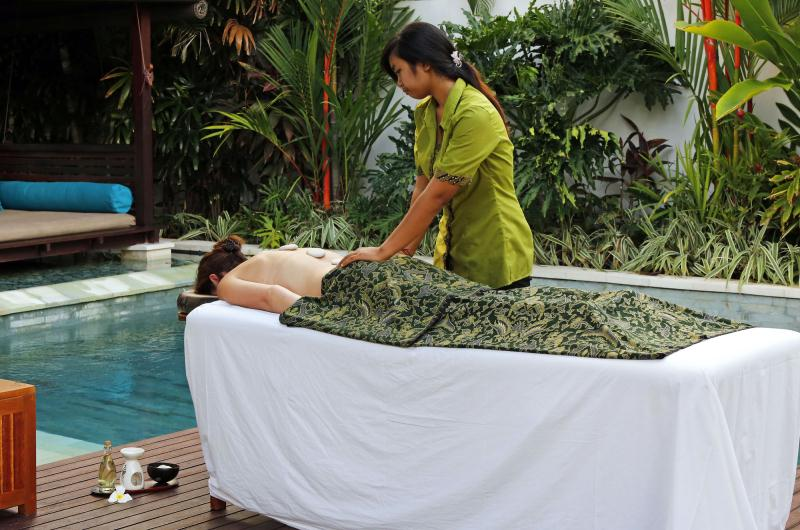 Poolside Massage in a Bali Villa