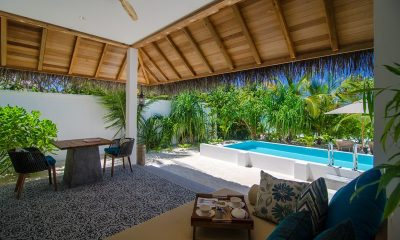 Finolhu Beach Pool Villa Living And Dining Area | Baa Atoll, Maldives