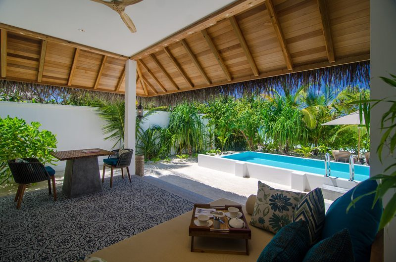 Finolhu Beach Pool Villa Living And Dining Area | Baa Atoll, Maldives
