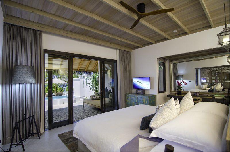 Finolhu Beach Pool Villa Bedroom | Baa Atoll, Maldives