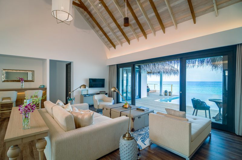 Finolhu Two Bedroom Ocean Pool Villa Living Room | Baa Atoll, Maldives