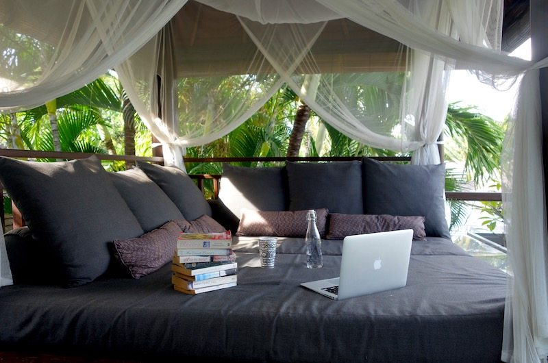 Day bed on the balcony of Chimera Villas in Seminyak, Bali