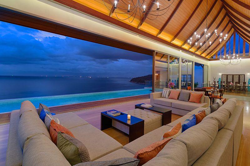 Malaiwana Villa Haleana Living Area with Sea View | Naithon, Phuket