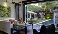 Majapahit Villa Nataraja Indoor Living Area with Pool View | Sanur, Bali