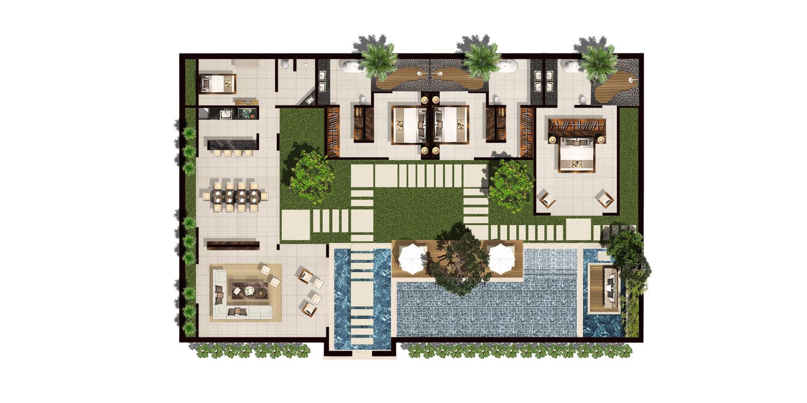 Chandra Villas 1 Floorplan | Seminyak, Bali