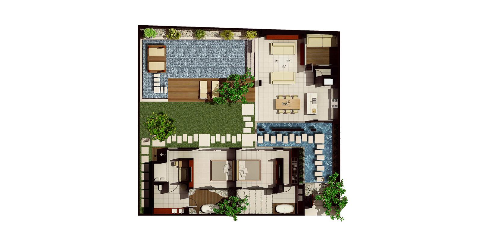 Chandra Villas 2 Floorplan | Seminyak, Bali