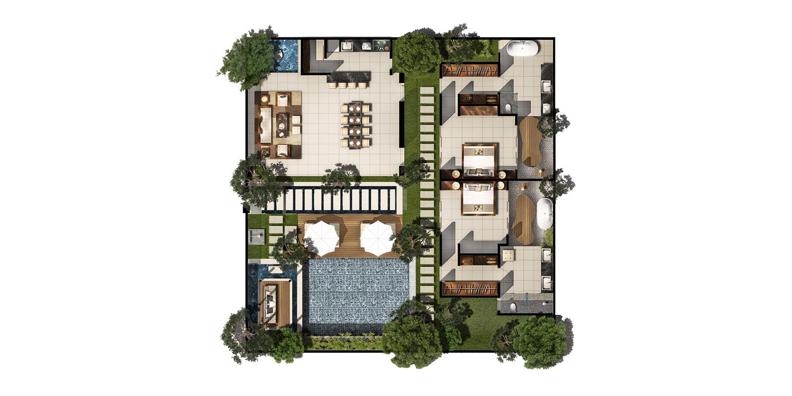 Chandra Villas 3a Floorplan | Seminyak, Bali
