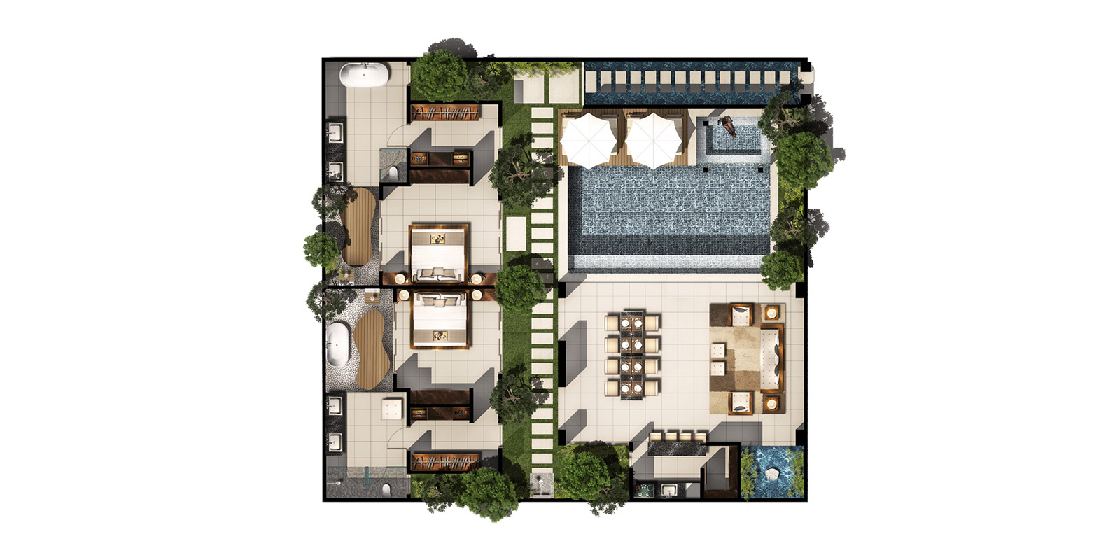 Chandra Villas 6 Floorplan | Seminyak, Bali