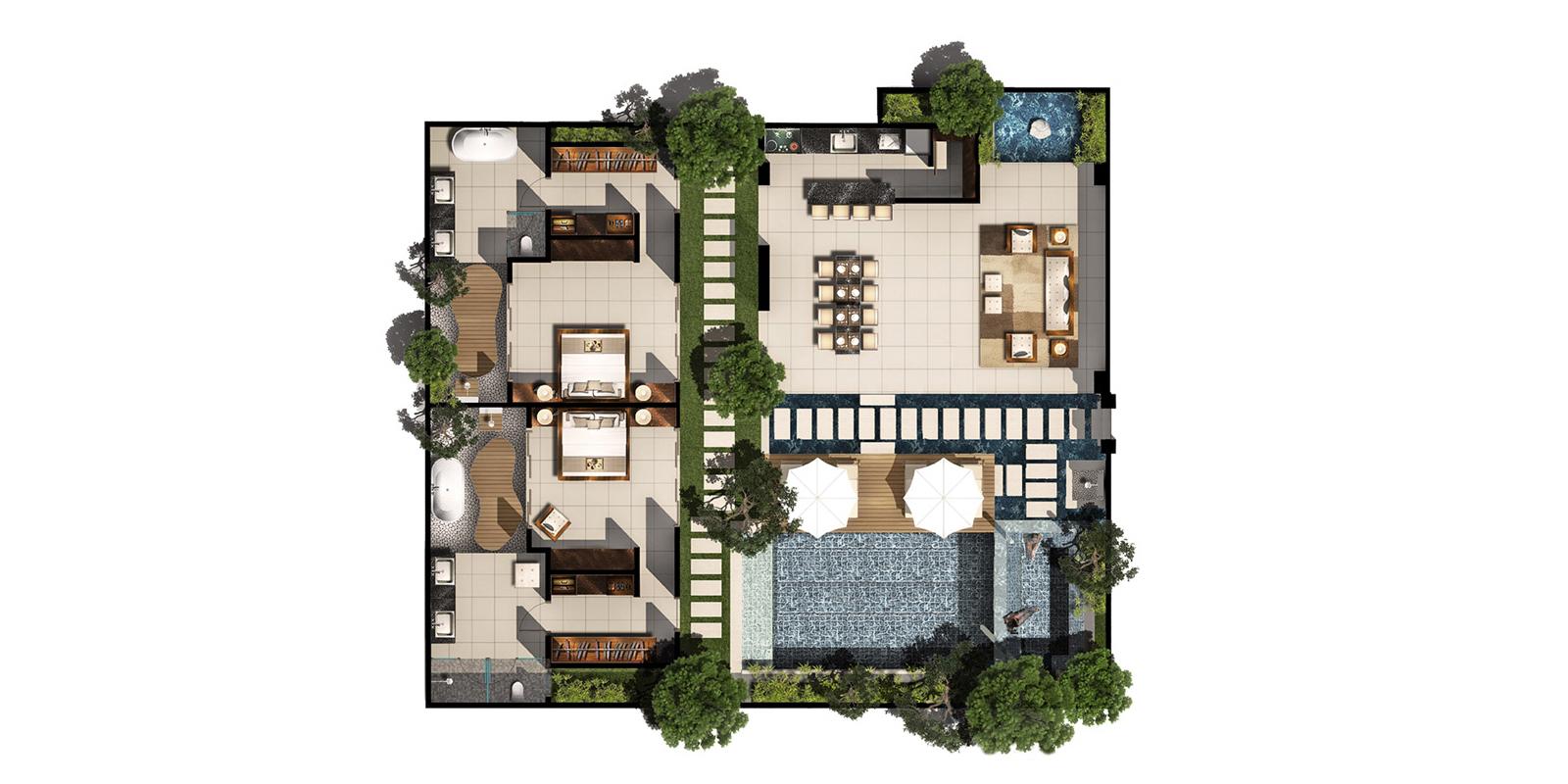 Chandra Villas 7 Floorplan | Seminyak, Bali