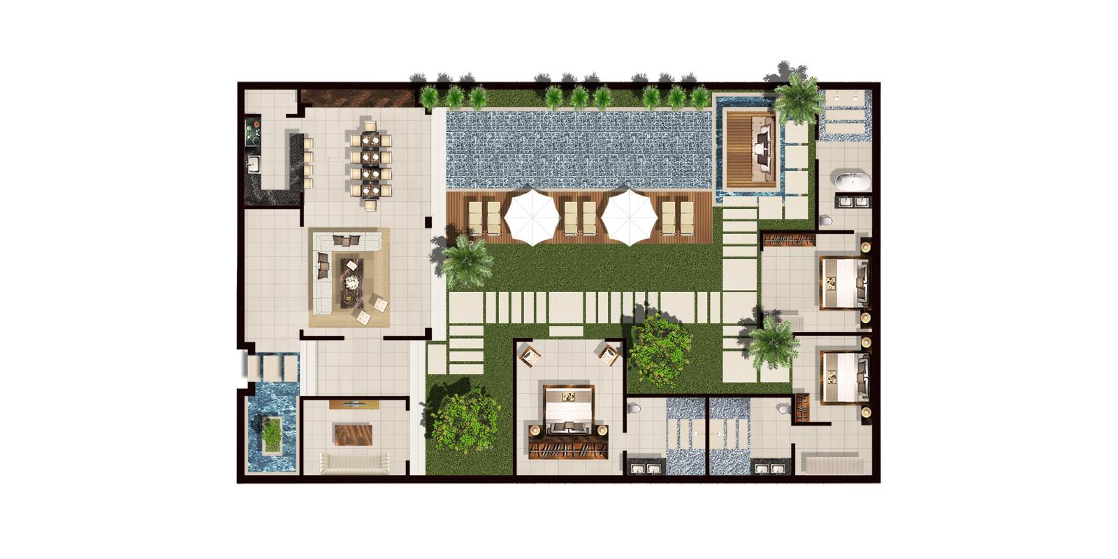 Chandra Villas 8 Floorplan | Seminyak, Bali