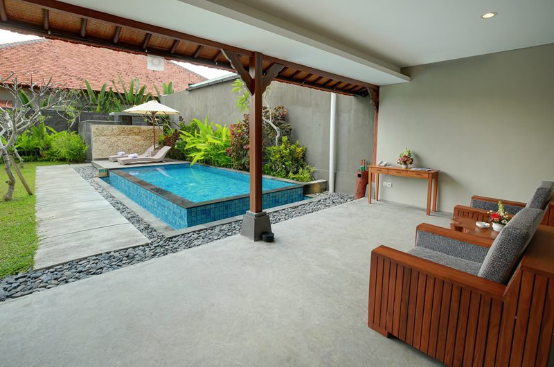 Sativa Villas Villa Rose Indoor Living Area with Pool View | Ubud, Bali