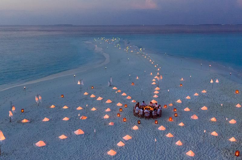 Maldives Soneva Fushi Sandbank Dining