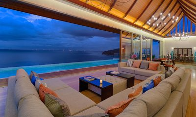 Villa Haleana Indoor Living Area with Sea View | Naithon, Phuket