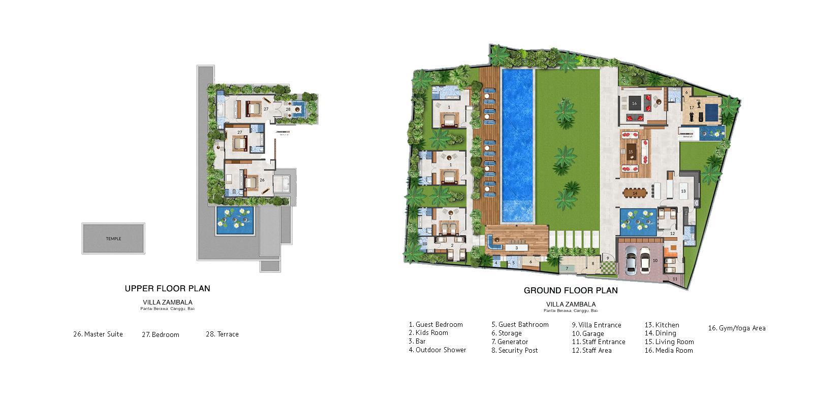 Villa Zambala Floor Plan | Canggu, Bali