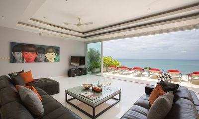 Baan Sirocco Indoor Living Area with Pool View | Chaweng, Koh Samui