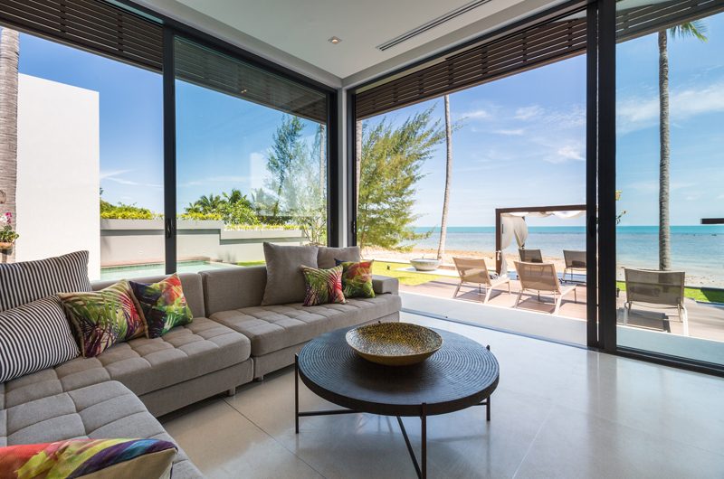 Villa Anar Living Area with Sea View | Bang Por, Koh Samui