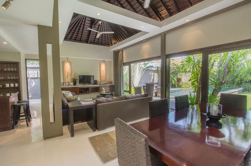 Chimera Green Living and Dining Area with Pool View | Seminyak, Bali