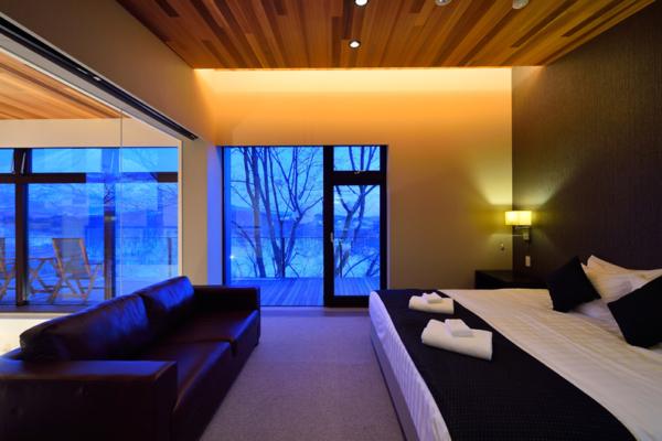 Panorama Bedroom Night View | Lower Hirafu Village, Niseko