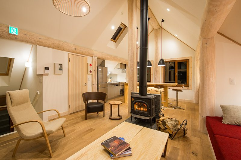 Koho Living Area with Fireplace | Hirafu, Niseko