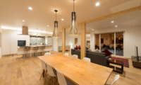 Yuzuki Living and Dining Area with Pool View | Hirafu, Niseko