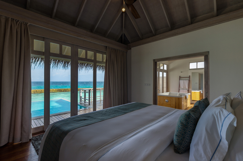 Amaya Kuda Rah Presidential Suite Bedroom with Ocean View | South Ari Atoll, Maldives